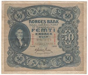 50 kroner 1936 B. Kv.1