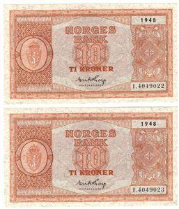10 kroner 1948 i serie. I.4049022-23. Kv.0/01