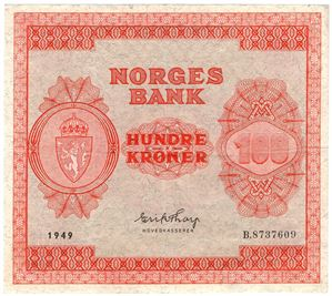 100 kroner 1949 B.8737609. Kv.1/1+