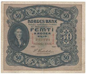50 kroner 1931 B. S-seddel. Kv.1/1+
