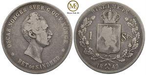 Speciedaler 1849 Oscar I. NM.4. Kv.1/1-