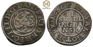 2 skilling 1666 Frederik III. NMD.225. Kv.1/1+