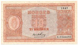 10 kroner 1947 E.8366686. Kv.0