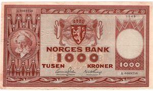 1000 kroner 1949 A.0069256.  Kv.1/1+
