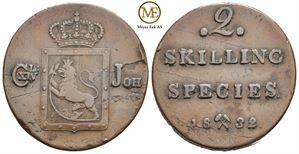 2 skilling 1832 Carl XIV Johan. NM.55. Kv.1+