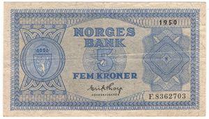 5 kroner 1950 F. Kv.1/1+