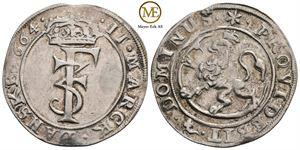 2 mark 1664 Frederik III. NMD.164. Rens. Kv.01