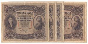 100 kroner 1942 B.  4 stk. i serie. Kv.1/1+