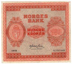 100 kroner 1945 A.1367089. Kv.01