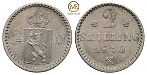 2 skilling 1870 Carl XV. NM.21a. Kv.01