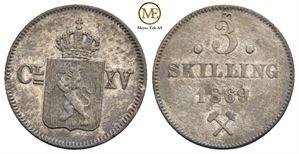 3 skilling 1869 Carl XV. NM.19a. Kv.1+/01