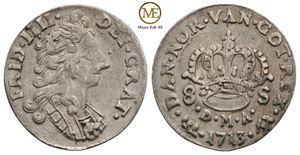 8 skilling 1713 Frederik IV. NMD.36. Kv.1+