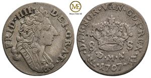 8 skilling 1707 Frederik IV. NMD.30. Kv.1/1+