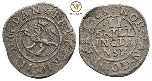 2 skilling 1668 Frederik III. NMD.228. Kv.1/1+