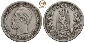 1 krone 1877 Oscar II. Kv.1/1+