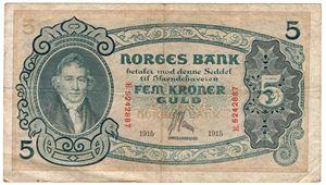 5 kroner 1915 E.5242887. Kv.1-