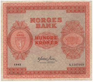 100 kroner 1945 A. Kv.01