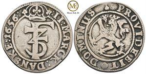 2 mark 1656 Frederik III. NMD.156. Kv.1/1+