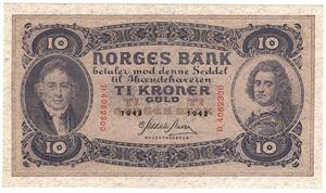 10 kroner 1943 D. Kv.0/01