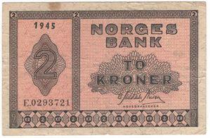 2 kroner 1945 E.0293721. Kv.1