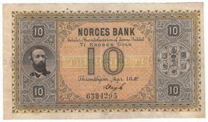 10 kroner 1886 Oscar II. No.6384295. RRR-seddel. Kv.1+/01