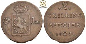 2 skilling 1831 Carl XIV Johan. NM.54. Bl.feil. Kv.1+