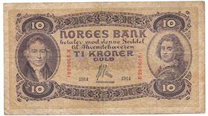 10 kroner 1914 E.2506051. SS-seddel. Kv.1/1-