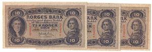 10 kroner 1944 E. i serie. Kv.01-0/01