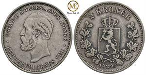 2 kroner 1892 Oscar II. Kv.1/1+
