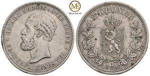 2 kroner 1900 Oscar II. Kv.1+