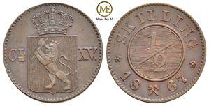 1/2 skilling 1867 Carl XV. NM.24. Kv.0