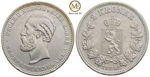 2 kroner 1902 Oscar II. Kv.1+