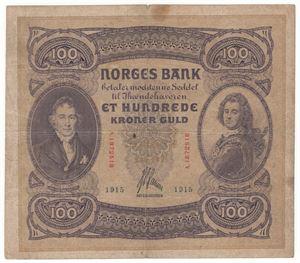 100 kroner 1915 A.1872518. SSS-Seddel. Kv.1/1-