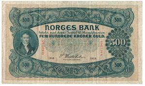 500 kroner 1918 A.0112941. SSS-Seddel. Kv.1