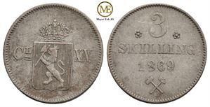 3 skilling 1869 Carl XV. NM.19a. Kv.1+