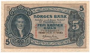 5 kroner 1943 V.8186050. Kv.0