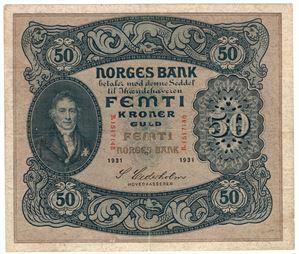 50 kroner 1931 B.1517148. S-seddel. Kv.1/1+