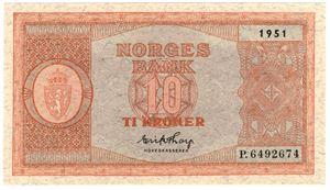 10 kroner 1951 P.6492674. Kv.0