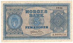 5 kroner 1945 A.0980270. Kv.0/01