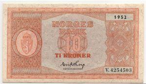 10 kroner 1952 i serie. V.4254503-04. Gradert til 64 og 65 EPQ hos PCGS. Kv.0