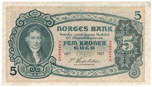 5 kroner 1917 F.4488543. Kv.0