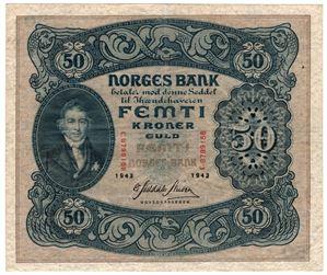 50 kroner 1943 C.8799158. Kv.1