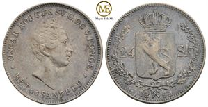 24 skilling 1855 Oscar I. NM.23. Kv.1+