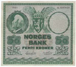 50 kroner 1951. A. Kv.1