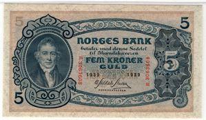 5 kroner 1939 R. Kv.0