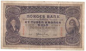 1000 kroner 1936 A.0471432. SSS-seddel. Kv.1-