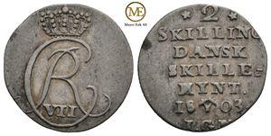 2 skilling 1803 Christian VII. NMD.90 V-form. Kv.1+