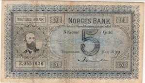 5 kroner 1899 E.0551626 Oscar II. Sign. Arnet. SS-Seddel Kv.1