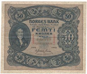 50 kroner 1943 C. Kv.1+
