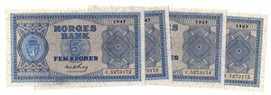 5 kroner 1947 C. i serie. Kv.01-0/01